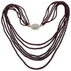 Buccellati Ruby Gold Multi Strand Necklace