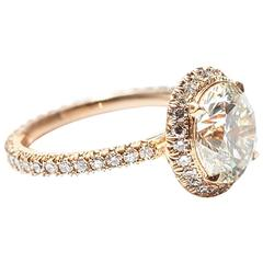 Marisa Perry Micro Pave 2.51 Round Diamond Engagement Ring in Yellow Gold