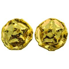Jean Mahie Gold Star Pattern Ear Clips