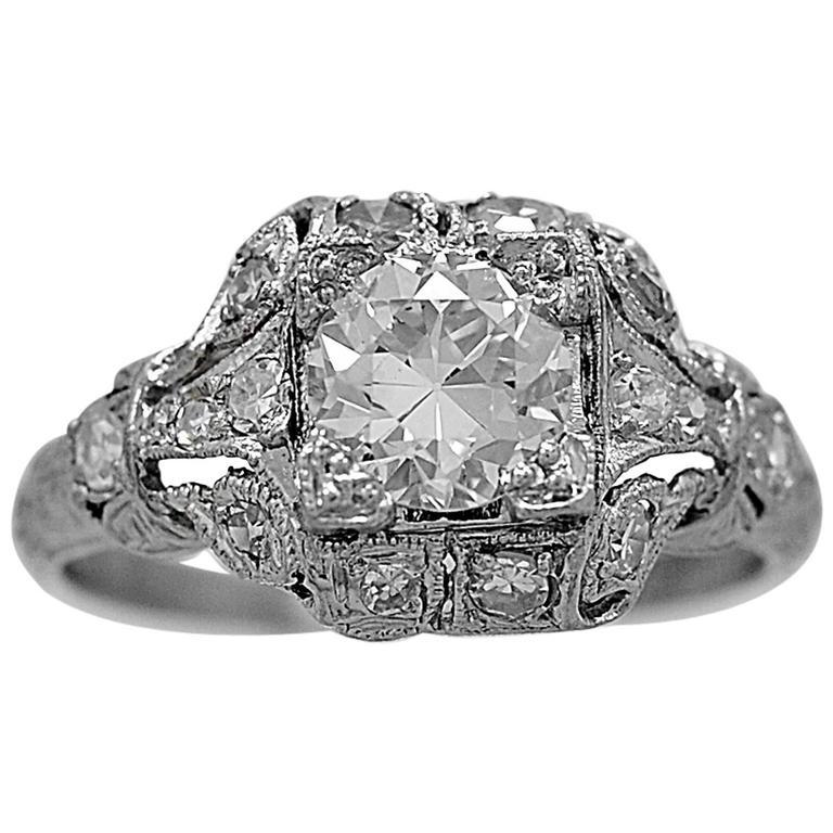 Art Deco .83 Carat Diamond Platinum Engagement Ring
