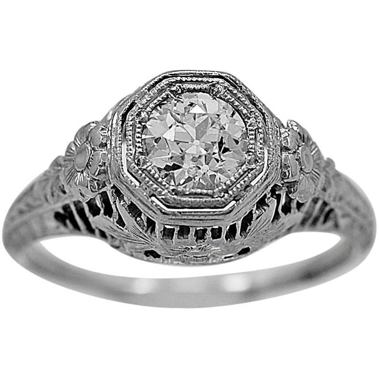 deco 51 carat gold engagement ring at 1stdibs