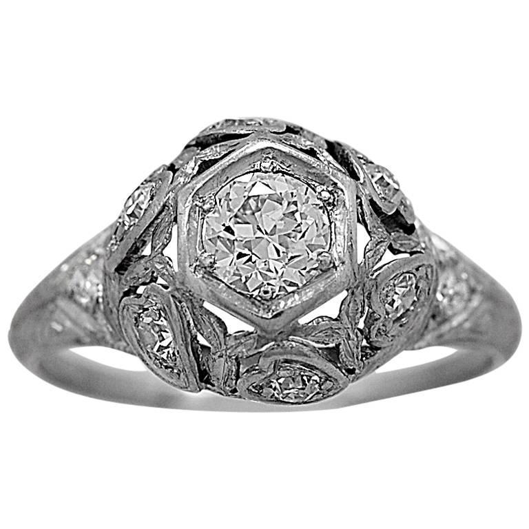 Art Deco .33 Carat Diamond Platinum Engagement Ring