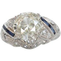 1920s Art Deco 2.22 Carat Old European Diamond Platinum Engagement Ring