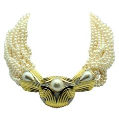 Scott Keating Custom Made Pearl  Diamond Gold Torsade Necklace