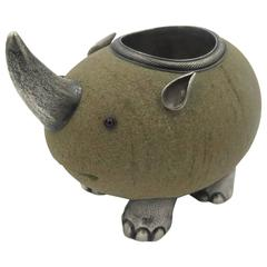 Faberge Rhinoceros Sandstone and Silver Match Holder
