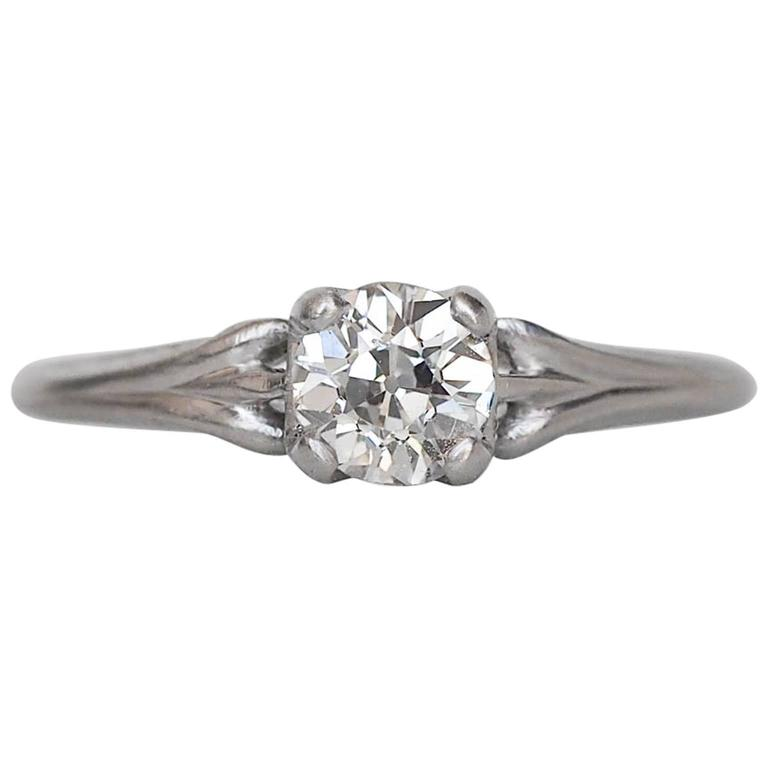 1920s Art Deco .45 Carat GIA Certified Old European Diamond Platinum Ring For Sale