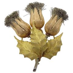 Buccellati Silver Two Color Gold Thistle Brooch.