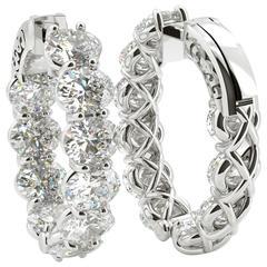 Oval Shaped Diamond Gold Platinum Hoop Earrings