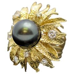 Tahitian Black South Sea Pearl Diamond Gold Ring