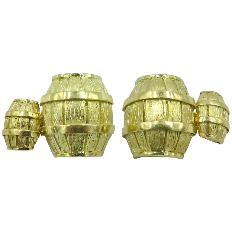 1970s Cartier Gold Barrel Cufflinks For Sale