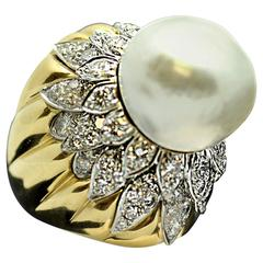South Sea Pearl Diamond Gold Platinum Ring