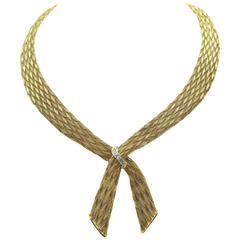 French Retro Diamond Gold Necklace