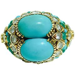 1960s Cartier Turquoise Diamond Gold Ring