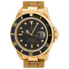 Rolex Yellow Gold Submariner Self Winding Wristwatch Ref 16618 1990
