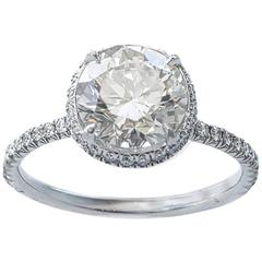 2.22 Carat Round Diamond Micro-Pave Platinum Engagement Ring