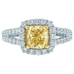 1.51 Carat EGL Cert Fancy Intense Yellow Diamond Pave Halo Engagement Ring