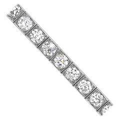 1920s Black Starr & Frost 21 Carats Diamonds Platinum Line Bracelet