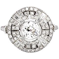Art Deco Brilliant Cut Diamond Platinum Ring