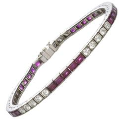 Ruby Diamond Platinum Line Bracelet