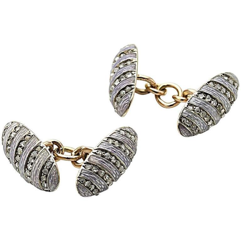 Fabergé Enamel Diamond Silver on Gold Cufflinks