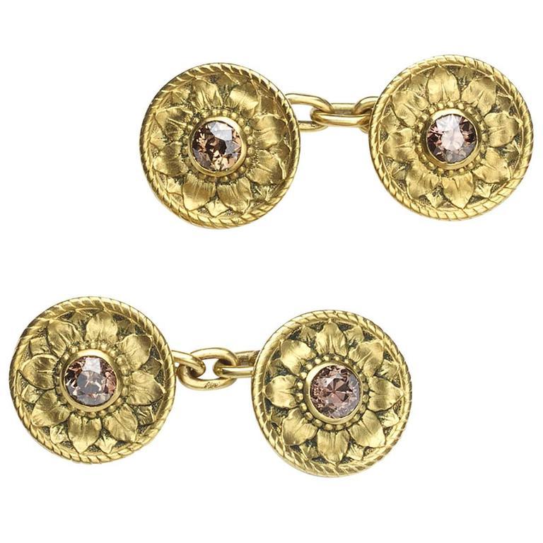 Desbazeille Art Nouveau Diamond Gold Cufflinks