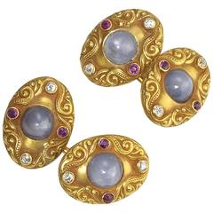 Antique Star Sapphire Ruby Diamond Cufflinks by Starr
