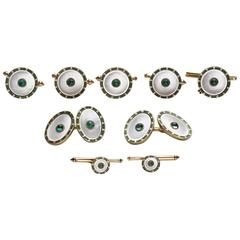 Emerald Mother of Pearl Gold Dress Set