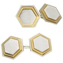 Hexagonal Gold Platinum Cufflinks