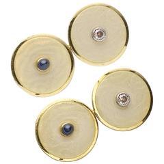 1930s Enamel Sapphire Gold Cufflinks