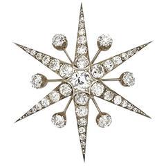 Victorian Old Cut Diamond Silver Gold Star Brooch