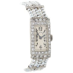 Dreicer & Co Art Deco Diamond, Seed Pearl, Platinum and Gold Wristwatch