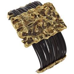 Van Cleef & Arpels Paris 1972 Gold and Elephant Hair Modernist Bracelet