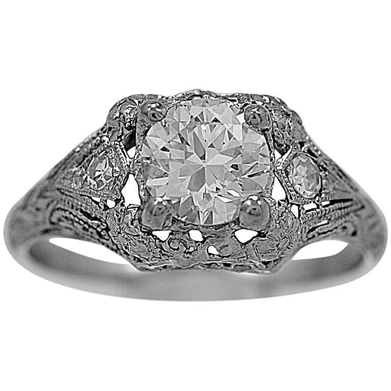Art Deco .84 Carat Diamond Platinum Engagement Ring
