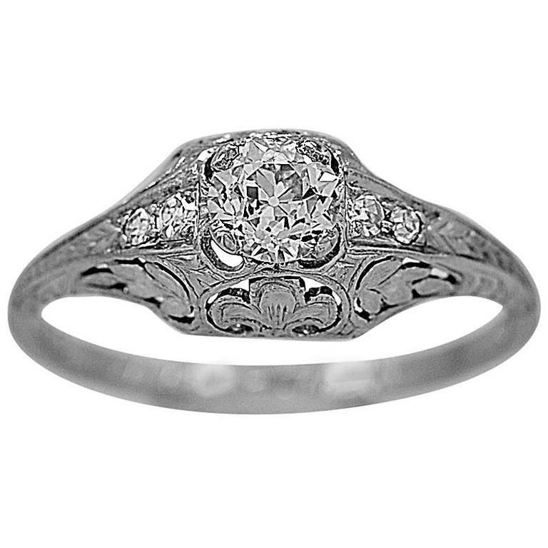 Art Deco .46 Carat Diamond Platinum Engagement Ring