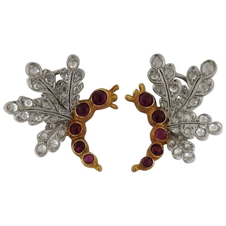 Buccellati Ruby Rose Cut Diamond Gold Earrings