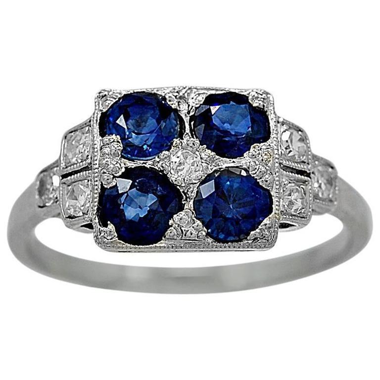 Art Deco 1.25 Carats Sapphires Diamond Platinum Engagement Ring