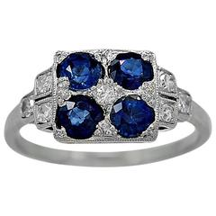 Art Deco 1.25 Carats Sapphires Diamond Platinum Engagement Ring