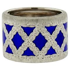 Buccellati Eternelle Silver Blue Enamel Wide Band Ring