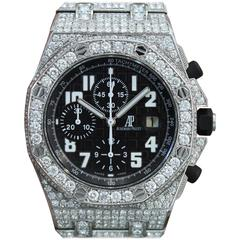 Audemars Piguet Stainless Steel Diamond Royal Oak Offshore Automatic Wristwatch