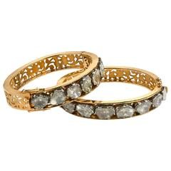 A Pair of 20th Century Indian Diamond Gold Bracelets