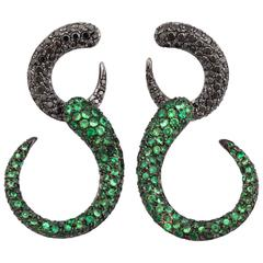 Faraone Mennella Tsavorite Diamond Rhodium Gold Goccioline Earrings