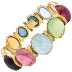 1980s H Stern Multicolor Gemstone Rainbow Yellow Gold