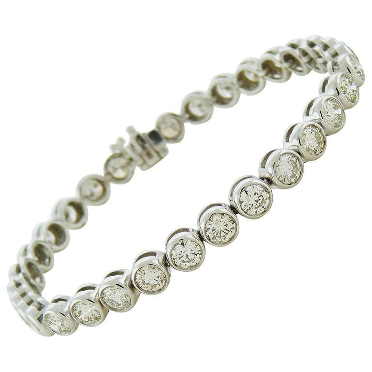 Brilliant-cut Diamond Gold Bezel-Set Tennis Bracelet  For Sale