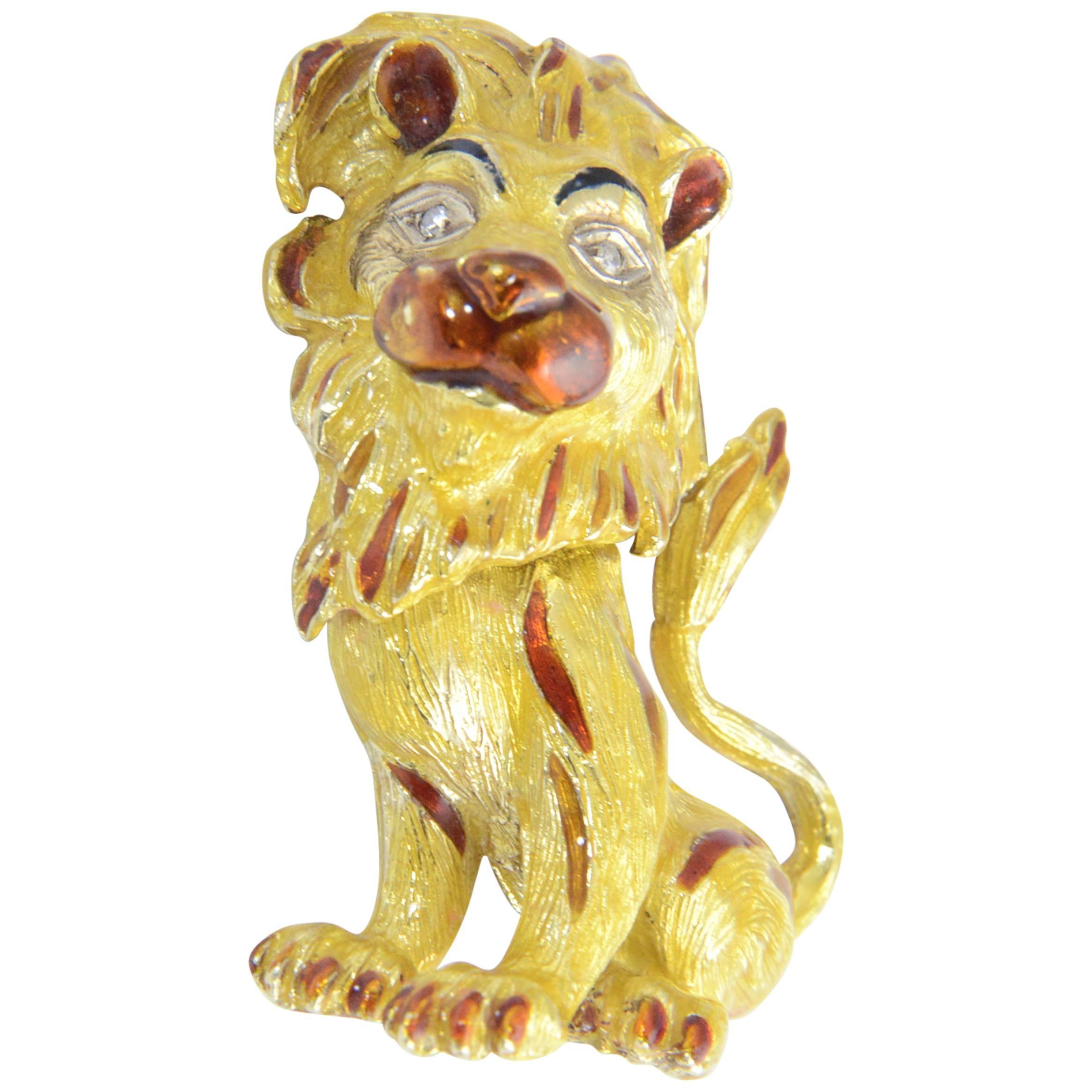 1960s Whimsical Enamel Diamond Yellow Gold Lion Leo Brooch Pin