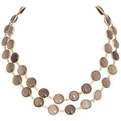 Smoky Topaz Gold Necklace