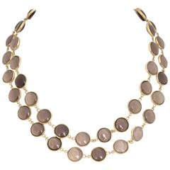 Smoky Topaz Gold 33 Inch Necklace