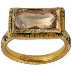 Antique Indian Enamel Diamond Gold Ring