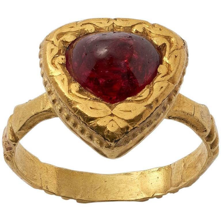 antique indian cabochon ruby gold ring for sale at 1stdibs