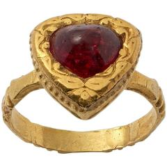 Antique Indian Cabochon Ruby Gold Ring