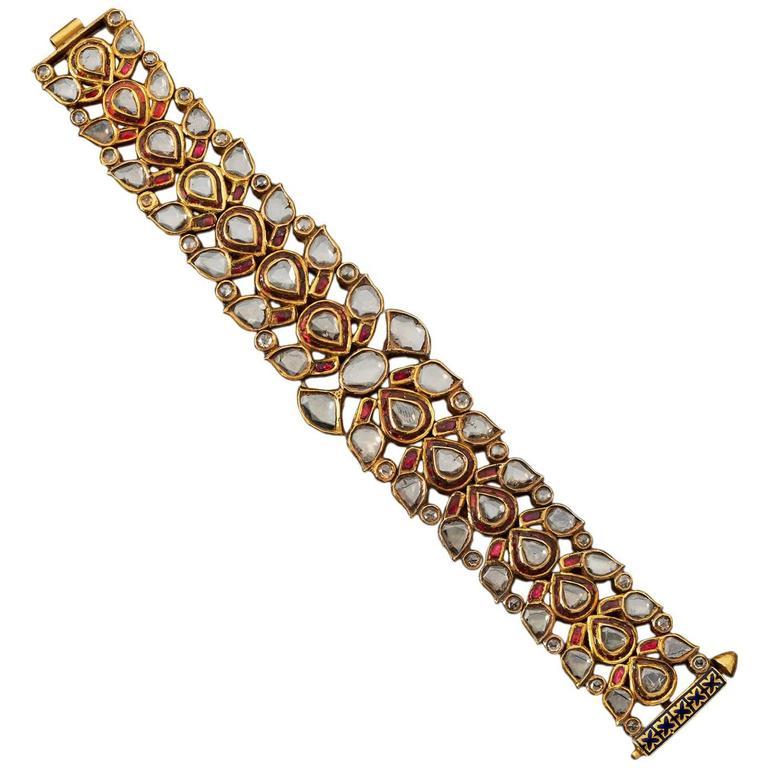 Enamel Ruby Diamond Gold Indian Bracelet